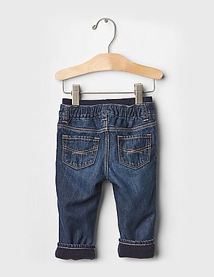 GAP Baby Blue 1969 Fleece-Lined Pull-On Straight Jeans