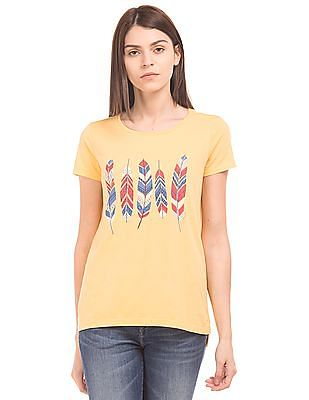 U.S. Polo Assn. Women Regular Fit Graphic Print T-Shirt