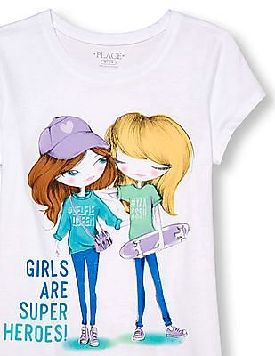 The Children's Place Girls Short Sleeve 'Girls Are Super Heroes' BFF Fashionistas Graphic Tee