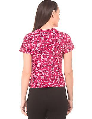 SUGR Band Neck Printed Top