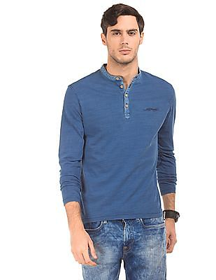 Ed Hardy Regular Fit Washed Henley T-Shirt