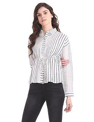 Flying Machine Women Striped Drawstring Waist Shirt
