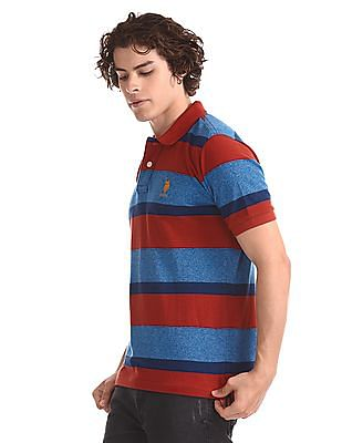 U.S. Polo Assn. Rust And Blue Ribbed Collar Polo Shirt