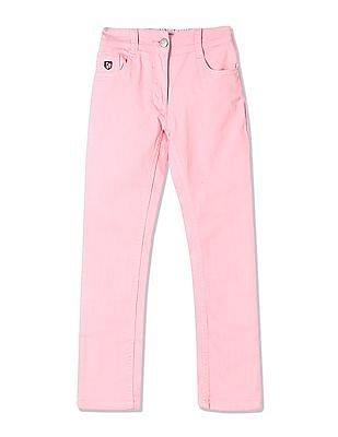 U.S. Polo Assn. Kids Girls Mid Rise Dyed Jeans