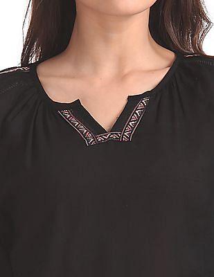 Bronz Embroidered V-Neck Top