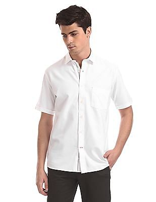 Arrow Sports White Short Sleeve Solid Shirt