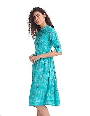 Bronz Green Printed Fit And Flare Dress