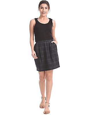 U.S. Polo Assn. Women Patterned Weave Wool Pencil Skirt