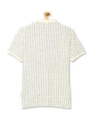 Flying Machine White Printed Pique Polo Shirt