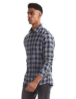 Arrow Sports Blue Slim Fit Check Shirt