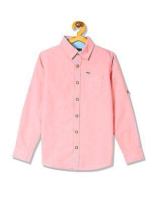 FM Boys Boys Long Sleeve Solid Shirt