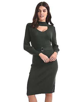 Elle High Mock Neck Ribbed Dress