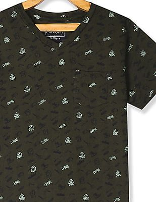 Cherokee Green Boys Patch Pocket Printed T-Shirt