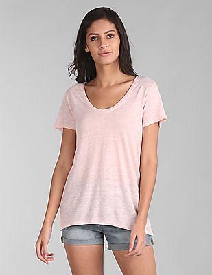 GAP Women Pink Short Sleeve Scoop Neck T-Shirt In Linen