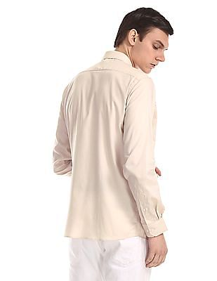 Excalibur Beige Mitered Cuff Solid Shirt