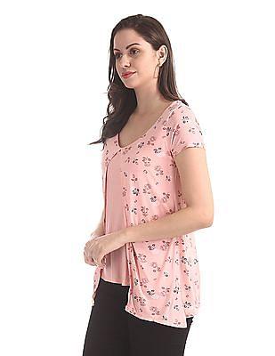 Elle Studio Pink Floral Print Twofer Top