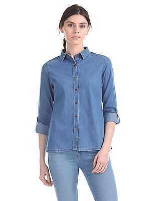 Flying Machine Women Regular Fit Washed Chambray Shirt