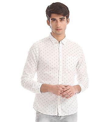 Flying Machine White Allover Print Cotton Shirt