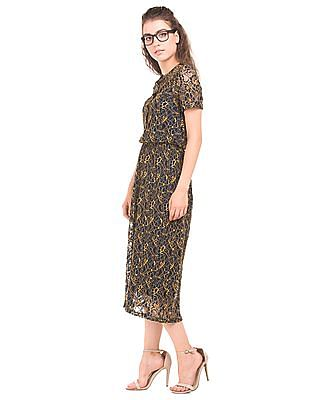 Arrow Woman Embroidered Lace Midi Dress