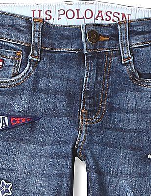 U.S. Polo Assn. Kids Boys Appliqued Stone Wash Jeans