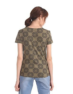 Flying Machine Women Green All Over Print Cotton T-Shirt