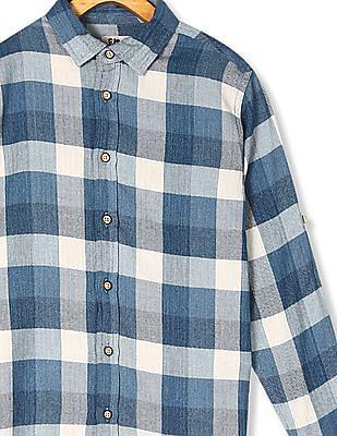 FM Boys Blue Boys Barrel Cuff Patterned Check Shirt