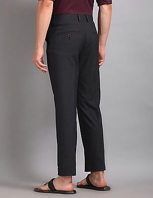 True Blue Blue Flat Front Solid Trousers