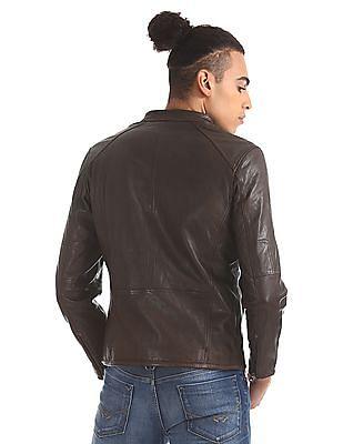 U.S. Polo Assn. Genuine Leather Panelled Biker Jacket