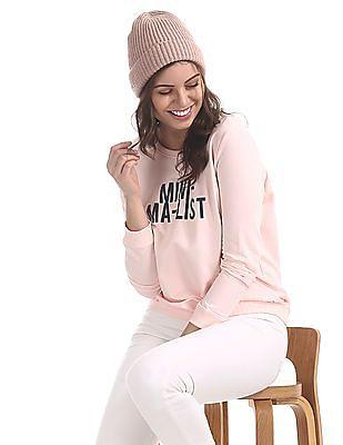 Flying Machine Women Pink Graphic Print Cotton Sweatshirt