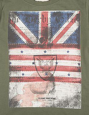 FM Boys Boys Flag Print Slim Fit T-Shirt