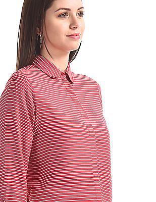 U.S. Polo Assn. Women Red Spread Collar Striped Shirt