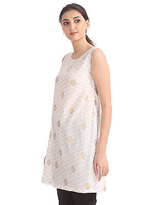 Bronz Foil Print Sleeveless Tunic