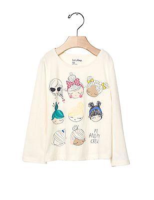 GAP Toddler Girl Glitter Graphic Long Sleeve Tee