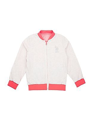 U.S. Polo Assn. Kids Girls Star Print Reversible Bomber Jacket