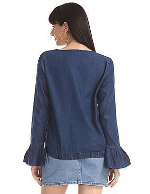 Cherokee Blue Bell Sleeve Embroidered Top