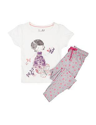 Cherokee Girls Printed T-Shirt and Leggings Set