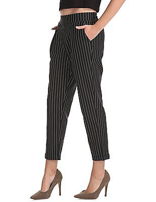 SUGR Upturned Hem Striped Pants