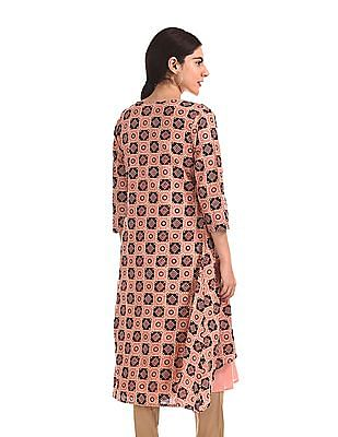 Anahi Solid Kurta With Printed Cover Up