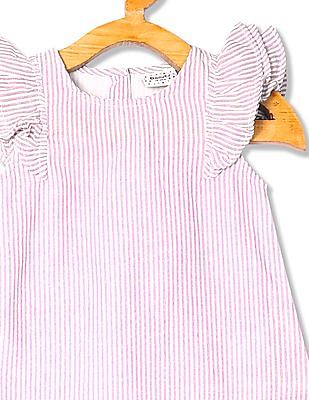 Donuts Girls Striped Flutter Sleeve Top