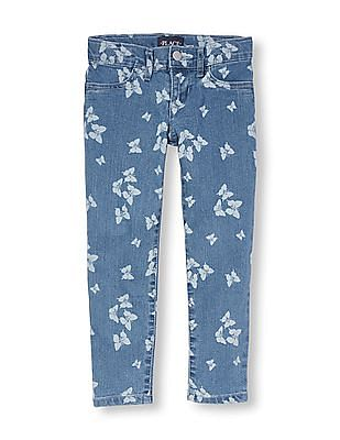 The Children's Place Girls Butterfly Print Woven Denim Jeggings