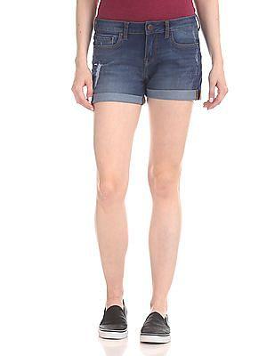 Aeropostale Mid Rise Distressed Shorts