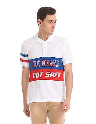 Flying Machine Colour Blocked Pique Polo Shirt