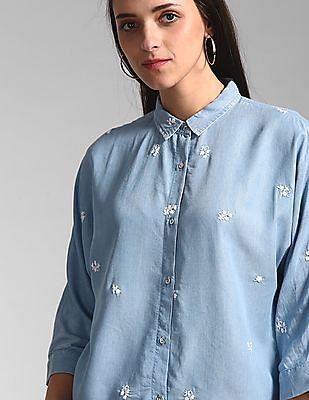 GAP Blue Embroidered Chambray Shirt