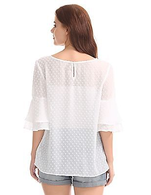 GAP Women White Double Layer Ruffle Sleeve Top