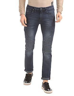 Flying Machine Biker Fit Panelled Stone Wash Jeans