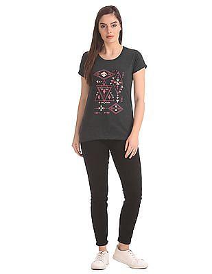 Cherokee Heathered Printed T-Shirt