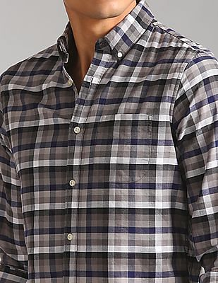 GAP Men Grey Slim Fit Pattern Oxford Shirt In Stretch