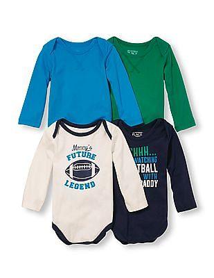 The Children's Place Baby Boys Long Sleeve Family Football Little Talker Bodysuit 4-Pack