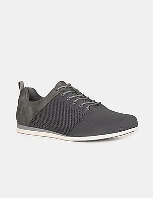 U.S. Polo Assn. Men Grey Panelled Lace Up Shoes