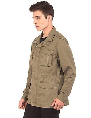 Aeropostale Solid Cotton Military Jacket
